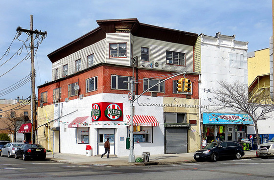 The corner with Rita's Italian Ices in 2014